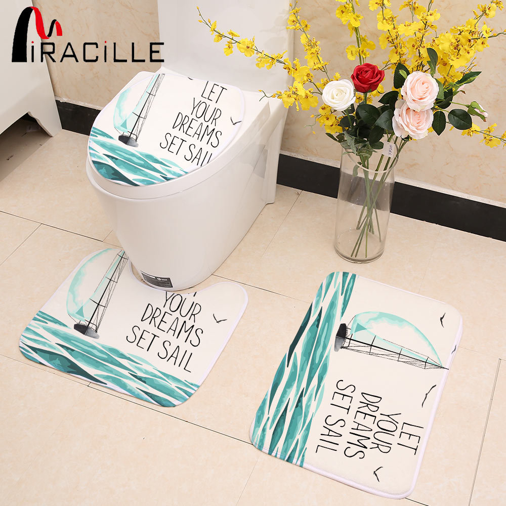 Miracille Sailing Styles Printed 3pcs Toilet Seat Cover U Shape Bathroom Mat Set for WC Bathroom Decor ...