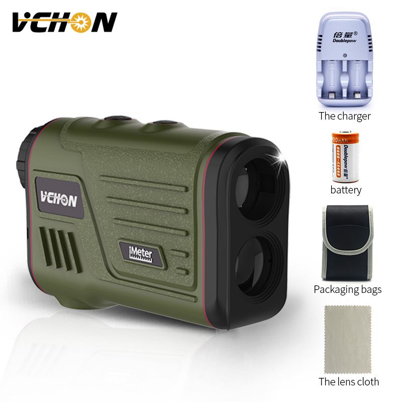 Vchon 600 m-1200 m Multifunction 6x Telêmetro A Laser Telescópio Caça Ângulo Distância Rangefinder Golfe Golf Frete grátis