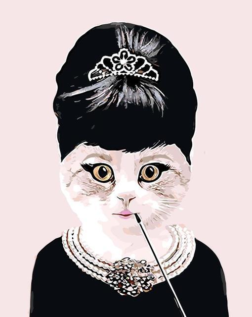Lady Cat Lukisan Berpakaian Kucing Abstrak Gambar Dengan Nomor