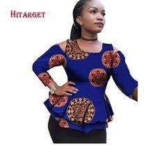 2018 Новый Дашики Африканских Женская одежда Базен Riche Мода 2017 г. Элегантный О-образным вырезом на полях футболки Анкара Африки Костюмы WY2100