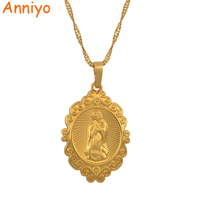 Anniyo Wholesale Lucky Gold Color Virgin Mary Pendants Necklaces Chain Women,Chr