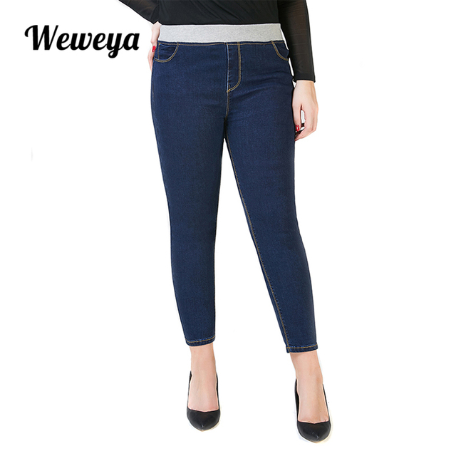 afac269e56 Weweya Plus Size Jeans Woman Pants Stretch Denim Trousers Female Casual  Elastic Waist Trousers Vintage Pencil Slim Skinny Jeans-in Jeans from  Women's ...