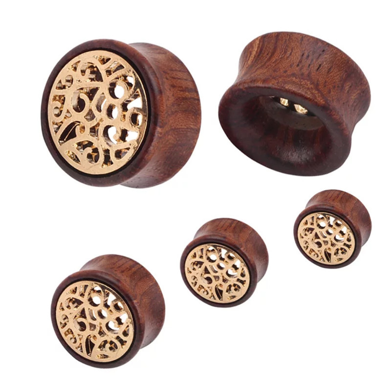 1 Piece New Hollow Out 8Mm 16Mm Gold Wooden Ear Tunnels -8641