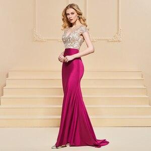Image 3 - Vestido de noche de sirena, mangas cortas elegantes, sin tirantes, largo hasta el suelo, con cuentas, para fiesta de boda, formal