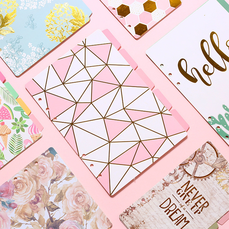 1set/lot   A5 A6 Creative Cute Notebooks Series Separation Page 6 Hole Loose-leaf Pocket Index Page 6 Separation Sheet 5 Sheets