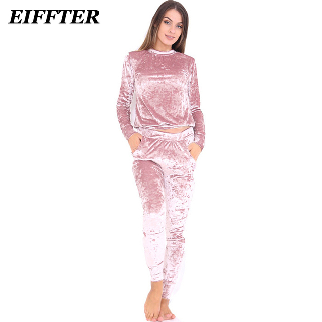 EIFFTER Sexy Women Suits 2017 New Autumn Winter Fashion Velvet Long Sleeve Women 2 Piece Set Slim Pants Suits+Hoodies Sets 0226