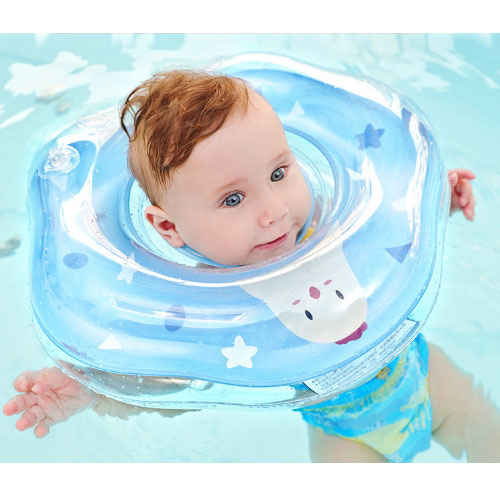 Baby Swimming Neck Collar Two Color PVC Double Clasp Airbag Can Be Adjusted To Tighten The Necessities For New Children