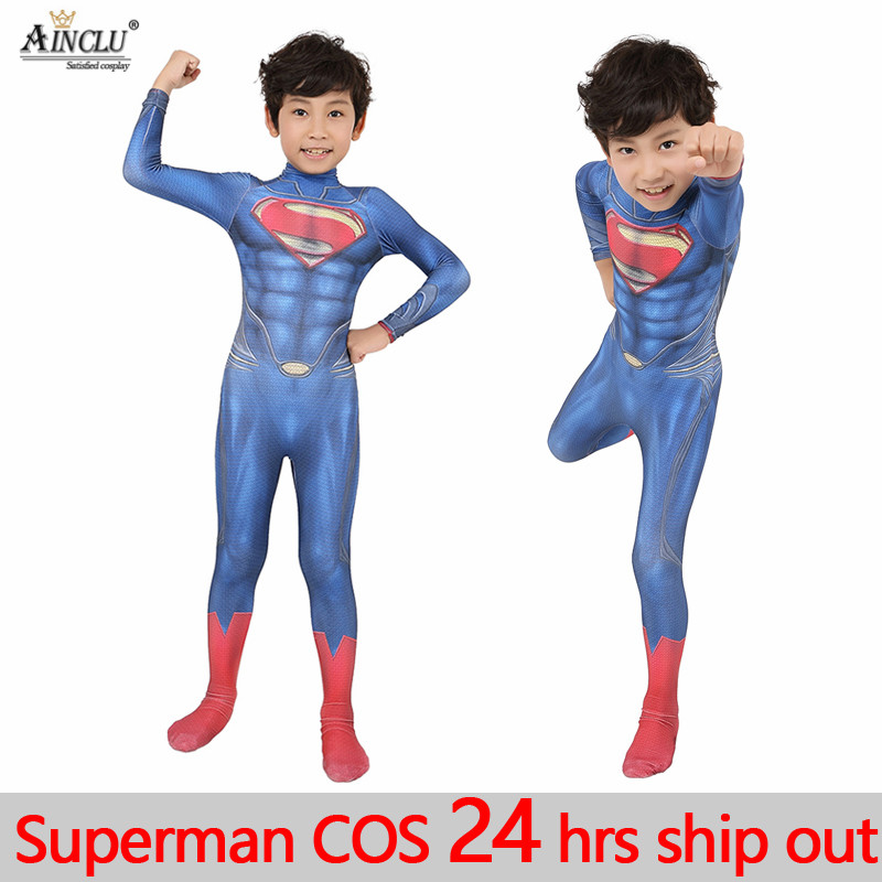 Ainclu Halloween kid Superman Cosplay Costume Zentai Spandex Lycra Casuits Suit for kids boys man Superman cosplay jumpsuits