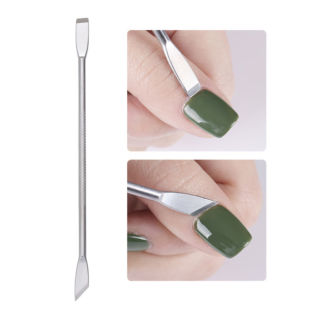 1 Pc Stainless Steel Dual-ended Nail Remover Pusher UV Gel Cuticle Anti-slip Handle Nail Art Professional Tool Manicure