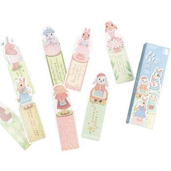 8packs/box Lovely Rabbit Bookmark Cartoon Animals Paper Animals Bookmark Student Gift Stationery Film Bookmark фото