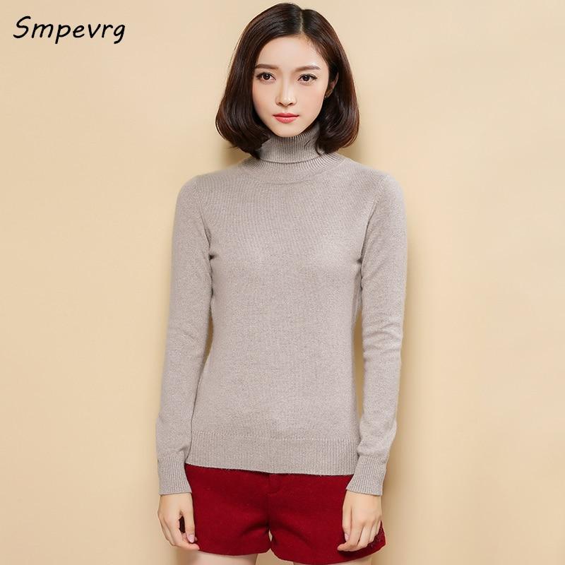 Smpevrg otoño invierno delgado suéter de cachemira de cuello alto sexy mujer de