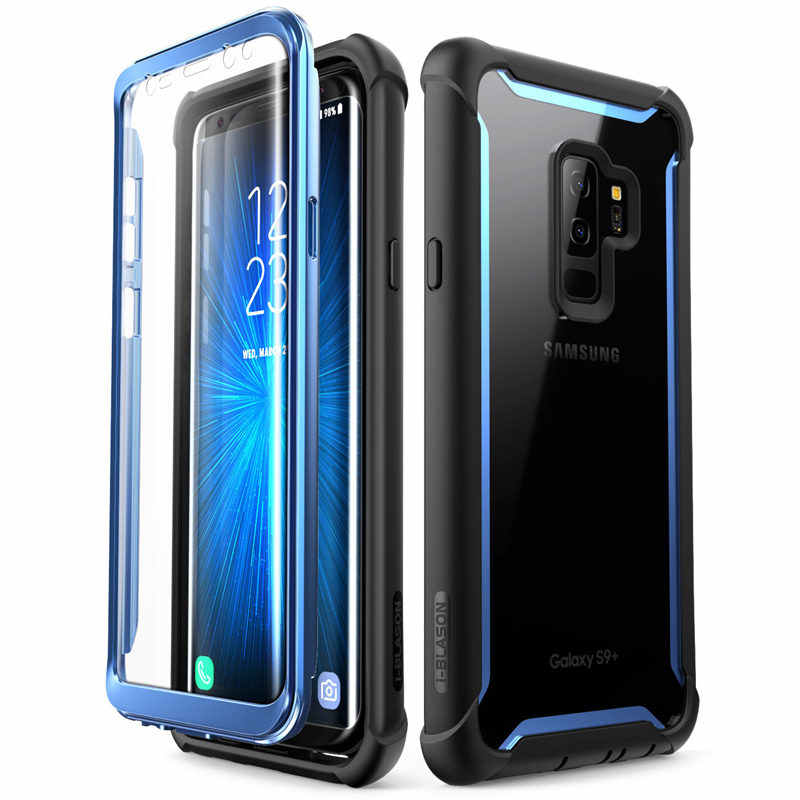 For Samsung Galaxy S9 Plus Case 2018 Release i-Blason Ares Full-Body Rugged Clear Bumper Case with Built-in Screen Protector