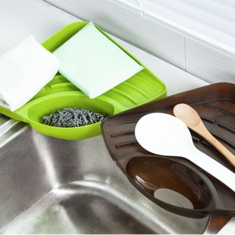 Aliexpress.com : Buy Suction Cup Kitchen Sink Corner Storage Rack Soap Sponge  Holder Wall Mounted Bathroom Kitchen Sucker Storage Tray Tool #85762 From  ...