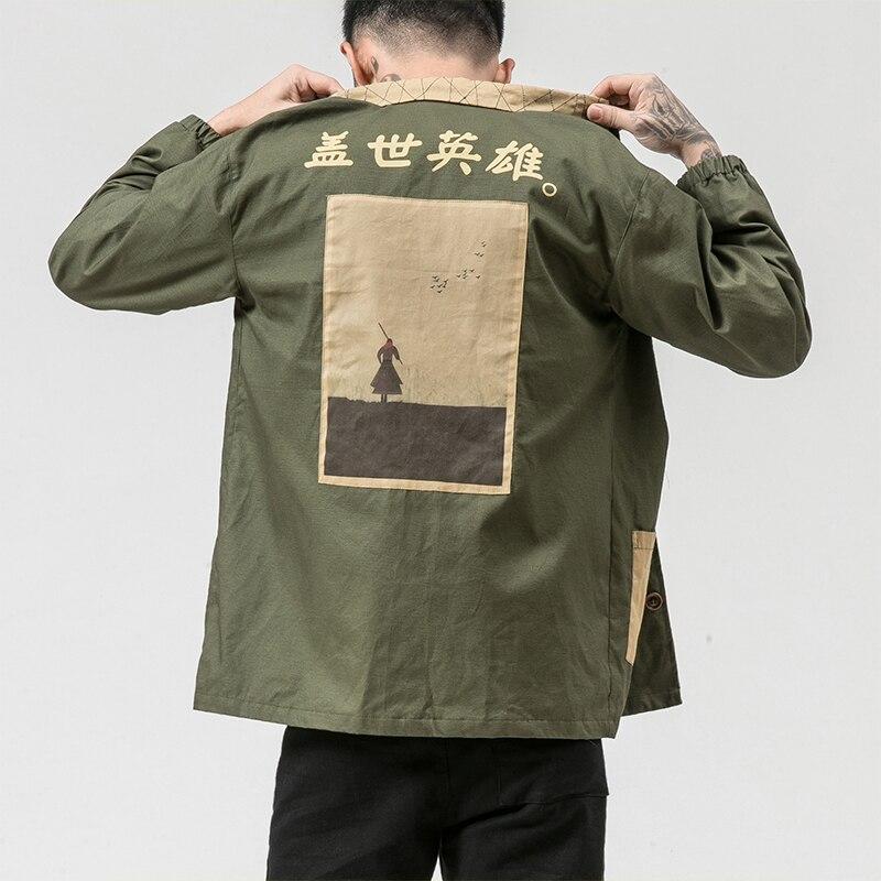 Sinicism Store Man Windbreaker Harajuku 2019 Mens Print Pocket Black Jacket Long Coat Male Hiphop Autumn Chinese Jacket Retro