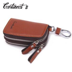 Image 2 - Genuine Leather Car Key Holder For Men Business Key Wallet Housekeeper Keys Male Zipper Door Key Chain Organzier Key Pouch Case