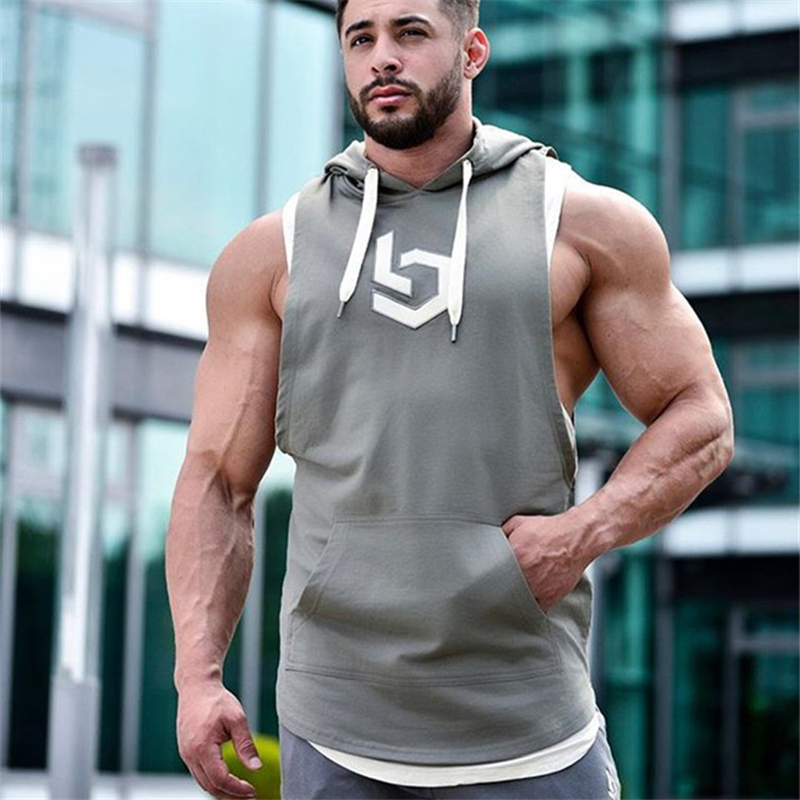 YEMEKE   Tank     Tops   Men Fitness Muscle Print Sleeveless Hooded Bodybuilding Pocket Tight-drying   Tops   Summer Shirt For Men