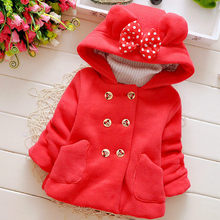 2017 new fashion girls warm winter coat cardigan big butterfly hat coat double breasted coat coat thickness in children(China)