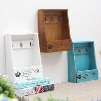 Retro Parede Montada Caixa de madeira Organizador Chave ganchos de Suspensão caixa de correio Telefone caixa de Pequenos objetos de armazenamento Prateleira Cesta de Suspensão