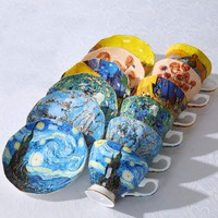 Top Grade Bone China Coffee Tea Mug Vincent Willem Van Gogh Post Impressionism Famous Painting The Starry Night Art Cup Dish Set