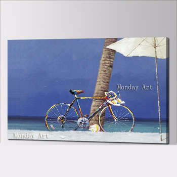 Pintura al óleo de paisaje, pintura al óleo hecha a mano, decoración de pared para el hogar, lienzo para niños, pinturas para bicicletas, arte en pared, imagen para sala de estar