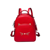 Ms. new leather cat solid color backpack Ms. Korean version of wild leather bulk water resistant backpack