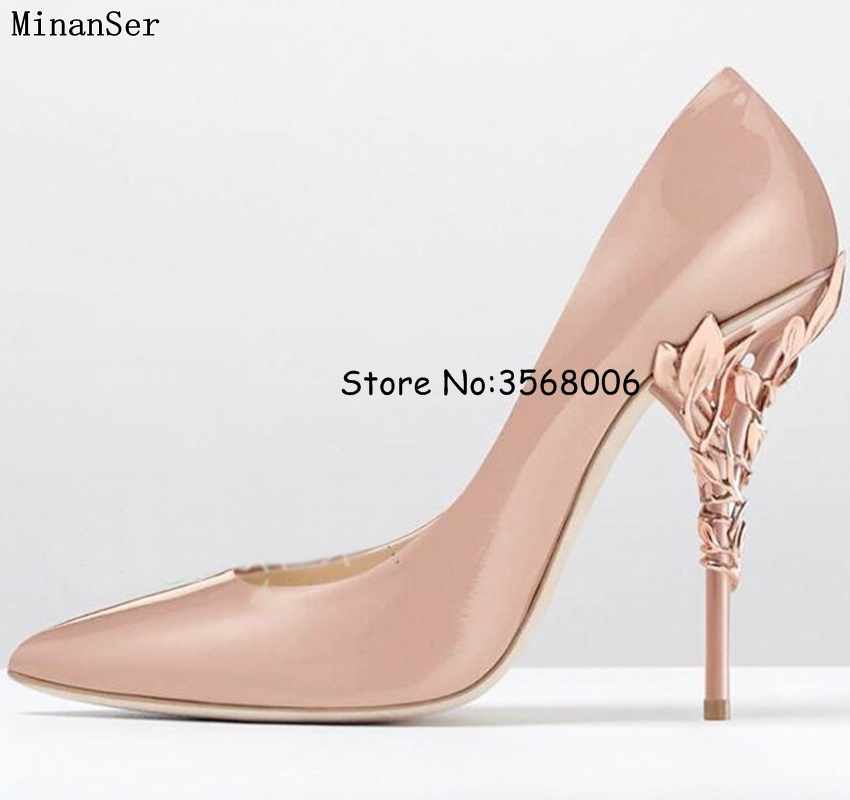 2018 Filigree Leaves Rose gold Eden Heel Pumps Pointed Toe Sexy High Heels Stunning Bridal Wedding