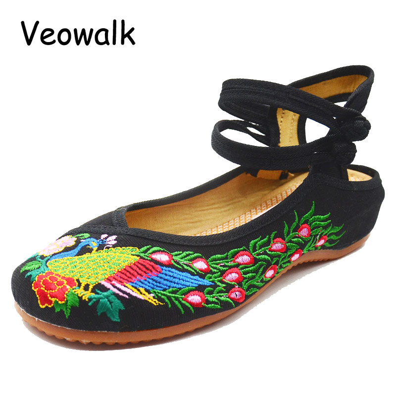 Veowalk Big Size 34-41 Woman Old Peking Mary Jane Casual Shoes Chinese Style Soft Flats Women's Flower Embroiderd Cloth Sandals vintage embroidery women flats chinese floral canvas embroidered shoes national old beijing cloth single dance soft flats