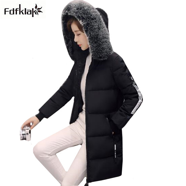Fdfklak New 2017 Long Winter Jacket Women Large Fur Collar Winter Coat Outerwear for Women Thick Warm Parka Woman Cotton Coats 2017 winter new clothes to overcome the coat of women in the long reed rabbit hair fur fur coat fox raccoon fur collar