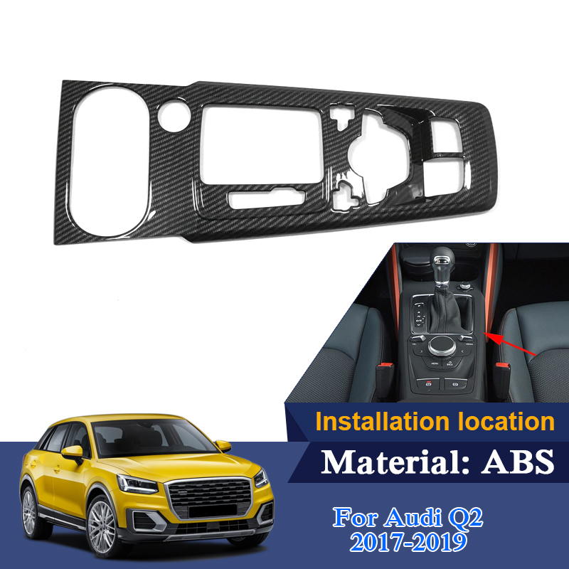 ABS intérieur moulures pour Audi Q2 2017-2019 bas Mach voiture boîte de vitesses cadre paillettes accessoires internes décoration autocollants