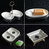 European Style Bathroom Ceramic Soap Box Portable Luxury Double Boxes Bathroom Dish Plate Home Shower Accessaries Kitchen Tub