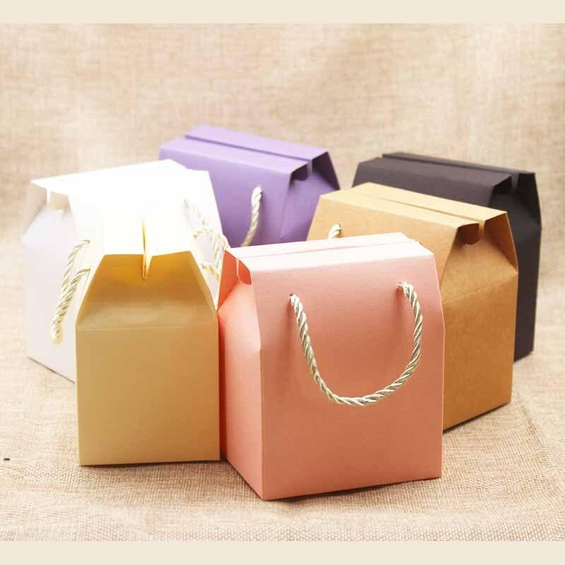 Feiluan 5 stk. Ivory Paper favor taske cupcake æsker pink pink box emballage lilla gaveæske med håndtag håndværk ...