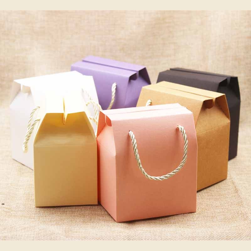 Feiluan 5pcs Ivory Paper Favor Bag Cupcake Boxes Pink  Wedding Packing Boxes Lilac Gift Box With Handle Kraft Nuts Package Box