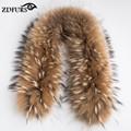 ZDFURS * Luxo Real Raccoon Fur Scarf Mulheres 100% Gola de Pele de Guaxinim Naturais Gola De Pele Inverno Quente Cachecóis 70*16 cm ZDC-163001