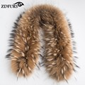 ZDFURS * Luxury Real Raccoon Fur Scarf Women 100% Natural Raccoon Fur Collar Winter Warm Fur Collar Scarves 70*16cm ZDC-163001