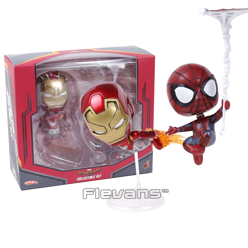COSBABY MARVEL Spider Man Homecoming Iron Man & Spiderman PVC Figures Toys Bobble Head Dolls 2pcs/set