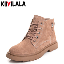 Kiiyilala Genuine Leather Women Motorcycle Boots Lace-up Round Toe Woman Ankle Shoes Fashion Autumn Winter Ladies Booties