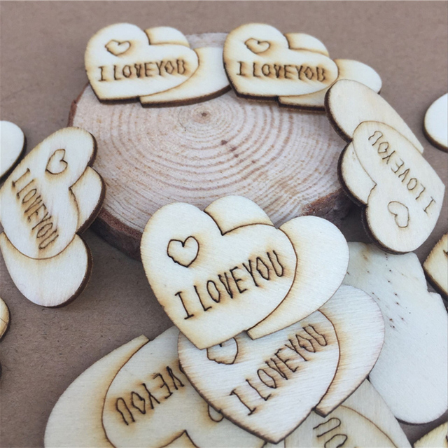50pcs pack wedding decoration wooden love heart shape for weddings