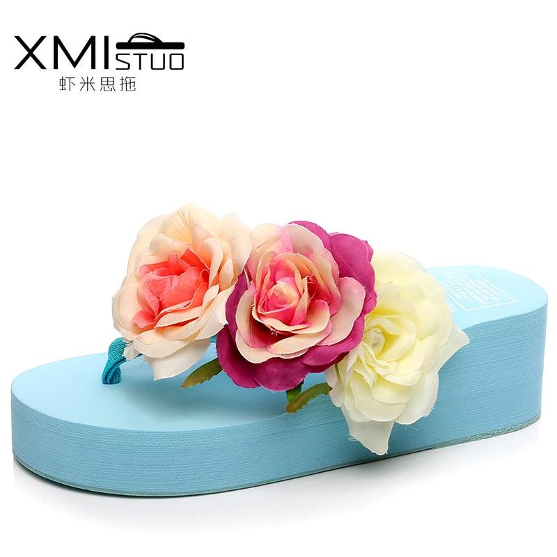 2017 Flowers Sandals Women Beach Flip Flops Summer Sandals Wedges Flip Flops Platform Shoes Women Summer