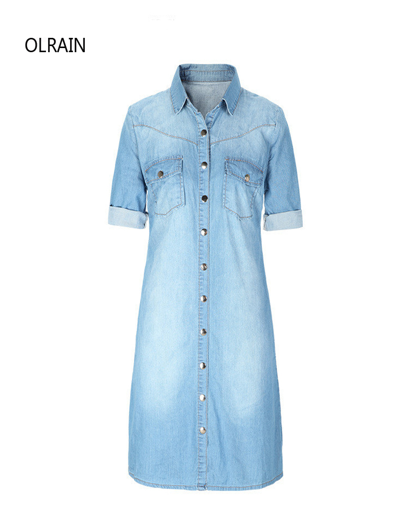Olrain Women Fashion Half Sleeve Long Denim Shirt Dress