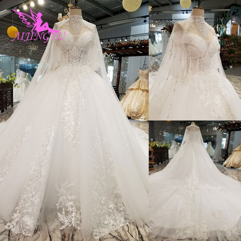 AIJINGYU Reception Wedding Dress Gowns Store 2019 Wears Sexy Princess Simple Bridals Gown Wedding Dresses With Sleeves