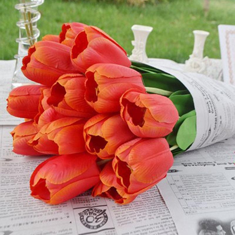 5 Unids/lote Falso Flores Artificiales Tulipanes de Seda Flores Artificiales Ram
