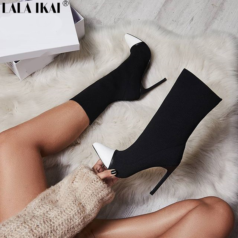 LALA IKAI Women Autumn Mid-Calf Boots Slip-On Pointed Toe Thin Heels Ladies Fashion Shoes Super High Heel Boot Female XWC2466-5 european sexy leopard woman boots pointed toe mid calf boots for women super high thin heels slip on women shoes spring autumn