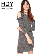 HDY Haoduoyi Slim High Waist Knitted Mini Dress Solid Gray Cold Shoulder O Neck Bodycon Dress Sexy Ruffles Pencil Dress