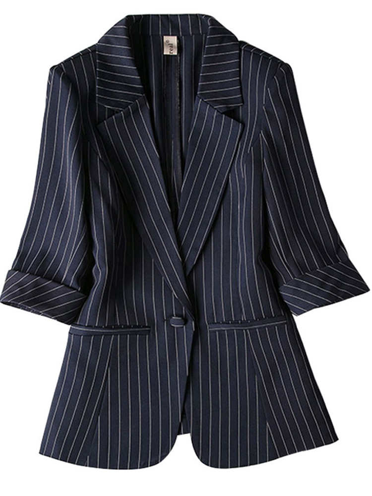Women Blazer Striped 2019 Summer New Pockets Single Breasted Notched Three Quarter Office Ladies Business Suits Plus Size 7XL