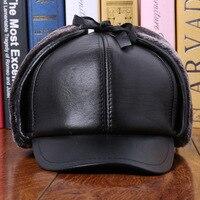 Man Genuine Sheepskin Leather Adult Hats Male Ear Winter Thermal Cap Baseball B 0610