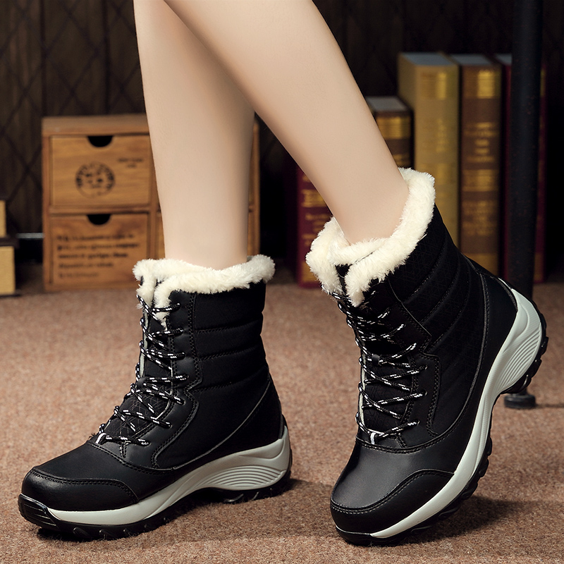 Fashion Winter Women Ankle Boots Female Wedges Lace Up Snow Boots Lace Up Warm Plush Platform Botas 2017 new fashion genuine leather snow boots female winter platform ankle boots women zipper lace up boots