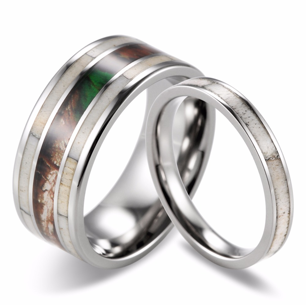 SHARDON Couples Wild Antler Wedding Band Matching Set Camo Wild