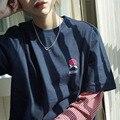 Camiseta Femme 2017 Camisas de Manga Longa Da Forma da Mulher Coréia Ulzzang Harajuku Bordado T-shirts Para As Mulheres Listrado Patchwork Tops