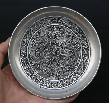 "145MM/5.7"" Collection China  Argentan Exquisite Animal 12 Zodiac Year Dragon Phoenix Decorate A Plate Tray Statue Statuary 452g"