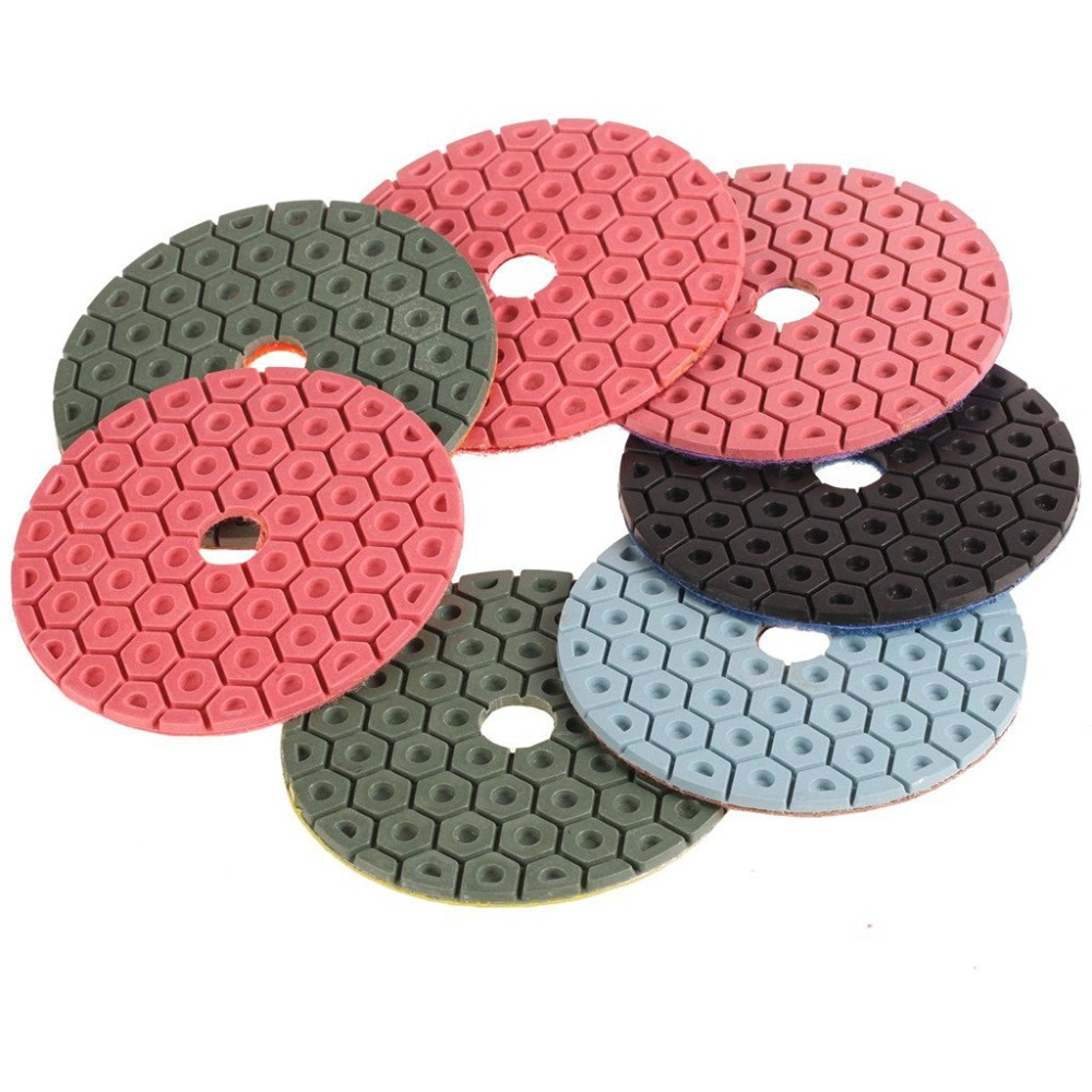 SPTA Mix Grit Premium Grade Wet 4(100mm) Diamond Polishing Pads Set For Wet Polisher Granite Marble Stone Polish Pack Of 7Pcs
